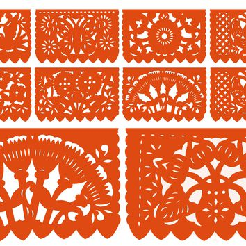 Papel Picado, Orange Mexican banner, 12 feet Long, Fiesta decoration, SB6
