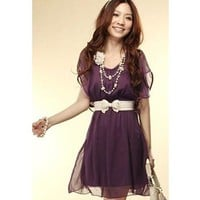 Violet Short Sleeves Chiffon Dress with White Ribbon Belt