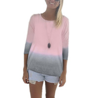 Casual T Shirts Women Long sleeve Cotton T-shirt Basic Tops tees Blusas Femininas Gradient Color High Quality Plus Size 3XL