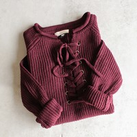 all tied up lace-up front sweater - more colors
