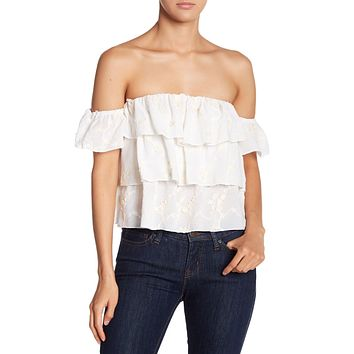Ruffled Embroidered Off the Shoulder Blouse