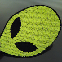 Iron on Patches or Sewing on Patch Fluorescent Aliens E.T. Head Embroidered Applique ET Patch Embellishment