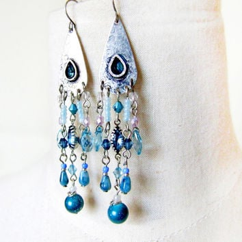 vintage crystal beaded blue silver earrings dangle boho gypsy victorian ethnic peacock semi gem stoned long earrings