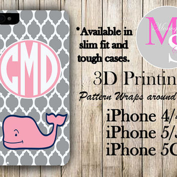 Monogram iPhone Case Personalized Phone Case Vineyard Vines Inspired Monogrammed iPhone Case, Iphone 4S, Iphone 4 iPhone 5S, iPhone 5C #2249
