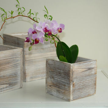 wood box woodland planter flower box rustic pot square vases for wedding wooden boxes rustic shabby chic wedding orchids centerpieces