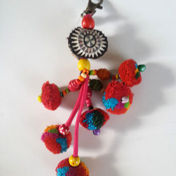 Pompom Embroidered Sun Keychain.