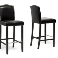 Baxton Studio Libra Black Modern Bar Stool with Nail Head Trim Set of 2