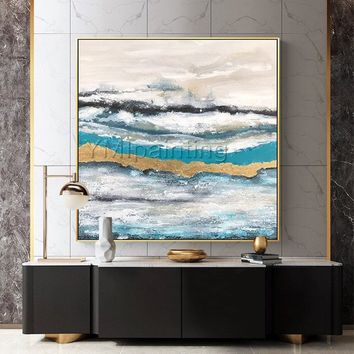 Modern abstract Acrylic painting on canvas original Gold leaf art seascape painting heavy texture Wall Art pictures cuadros abstracto
