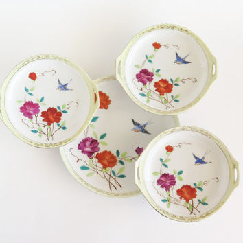 NIPPON Brightly Hand Painted Bird and Flower Plates