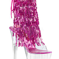 Ankle Stripper Boots With 4 Layers Of Pink Sequins Fringe