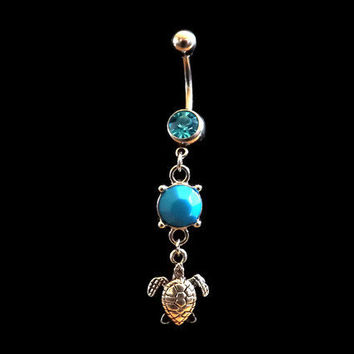 Turtle Belly Ring With Blue Stone Body Jewelry