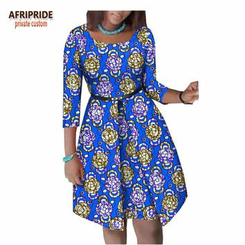 summer african dress for women AFRIPRIDE three quarter sleeve knee-length women cotton dress with button sashes A1825063