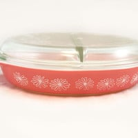Vintage Pyrex Pink Daisy Divided Casserole with Lid - Serving, Gift, Collectible, Hostess