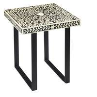 Leaf and Vine Black/White End Table