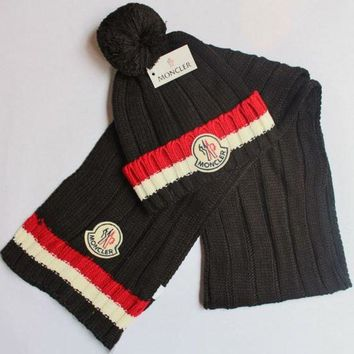 Perfect Moncler Women Men Winter Knit Hat Cap Scarf Set Two-Piece