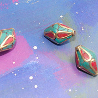 Tibetan beads brass inlay beads, 3 beads (13/19mm) turquoise/ red coral