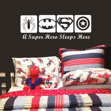 Creative DIY wall art home decoration Iron Man Avengers & Batman & Captain America, Spider-Man & Boy bedroom wall stickers #T017