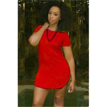 Casual All-match Irregular Hem UltraShort Dress Red