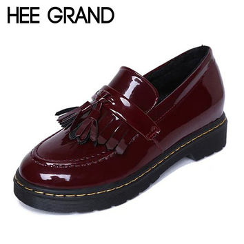 Patent Leather Oxfords Vintage Tassel Platform Brogue Shoes