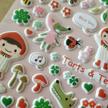 Little red riding hood sticker my little girl Puffy sticker fairy tale story cartoon girl green tree baby owl seal label clipart scrapbook