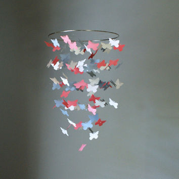 Medium Coral, Gray, and White Butterfly Swarm Chandelier