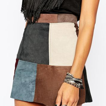 Milk It Vintage Skirt In 70s' Patchwork Suede