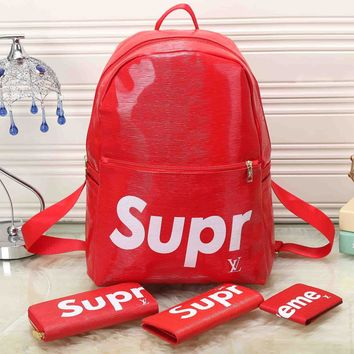 Lv X Supreme Leather Backpack Travel Bag Purse Wallet Card S