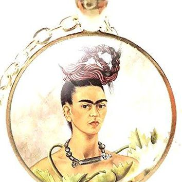 Mod Provisions Round Frida Kahlo Braided Hair Art Glass Cabochon Pendant Necklace