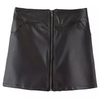 Black Pockets Zipper Front PU Leather Skirt