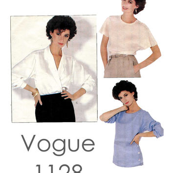 1980s CALVIN KLEIN Wrap Blouse & Pull-Over Tops Vogue 1128 American Designer UNCUT Vintage Womens Misses Sewing Pattern Size 12/Bust 34