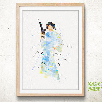 Leia Organa, Star Wars - Watercolor, Art Print, Wall Art, Nursery Deco, Gifts Idea, Home Decor, Watercolor Print, Star Wars Poster