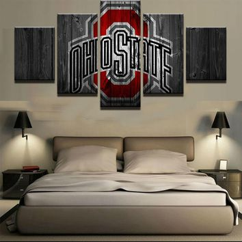 Ohio State Buckeyes NCAA Football 5 Panel Canvas Wall Art Home Decor