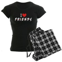 CafePress I heart Friends TV Show Women's Dark Pajamas Women's Dark Pajamas