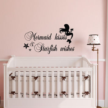Mermaid Kisses And Starfish Wishes Wall Decal Quote- Vinyl Wall Decal- Mermaid Wall Decal- Mermaid Nursery Decor- Mermaid Girl Decals 119