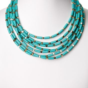 Aqua Gold Beaded Layer Necklace