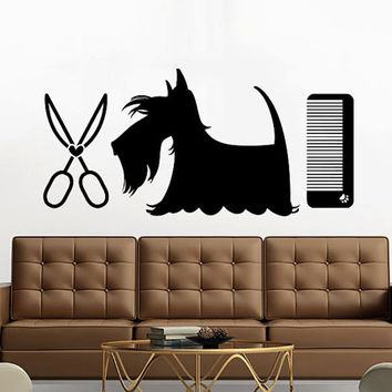 Grooming Salon Wall Decal Pet Shop Vinyl Sticker Decals Dog Comb Scissors Grooming Salon Decor Interior Art Murals Window Decal AN726