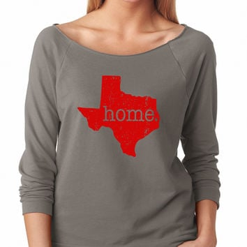 Grey Texas Is My Home Raglan Shirt