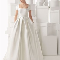 White Ball Square Short Sleeve Satin 2014 Wedding Dress IWG0066 -Shop offer 2013 wedding dresses,prom dresses,party dresses for girls on sale. #Category#