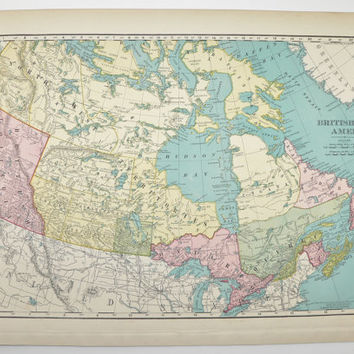 Vintage Canada Map 1901 British America Map Canadian Gift Idea for the Home Travel Map Old Geography Gift Wedding Prop Antique Wall Map Art