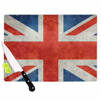 "Bruce Stanfield ""UK Union Jack Flag"" Red Blue Cutting Board"