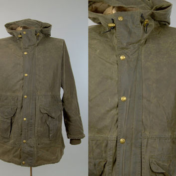Vintage Filson Oil Cloth Hooded Parka All Seasons Outdoor Waterproof Jacket size L