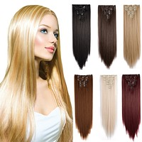 """24"""" Straight Full Head Kanekalon Futura Heat Resistance Hair Extensions Clip on in Hairpieces 7pcs"""