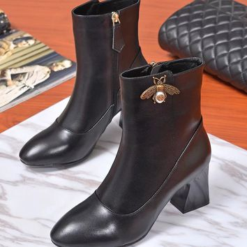 Gucci Women Black Leather Side Zip Ankle Boots Shoes Best Quality