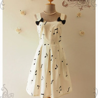 ALICE IN MUSIC : Music Dress Off White Black Music Note Dress Concert Choir Dress Musician dress Summer Dress -Size S Ready to Ship