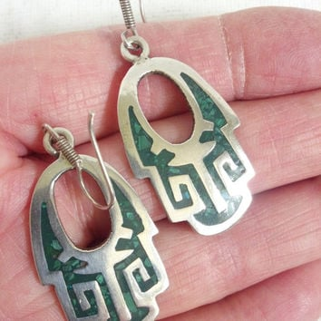 Silver Earrings with Malachite Green Inlay - Mexican Aztec or Mayan Design Earrings - Artisan Earrings