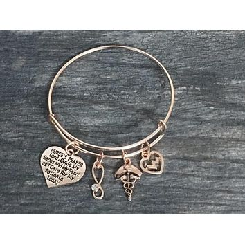 Nurse Prayer Bangle Bracelet- Rose Gold