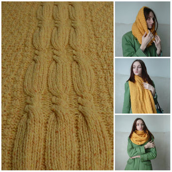 Infinity tweed cable knit scarf Yellow cowl scarf Orange loop scarf Knitted circle scarf Neck warmer wool scarves for women Gift for her