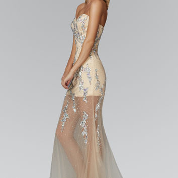 Strapless Sweetheart Sheer Long Dress with Sequin and Jewel Embellished Bodice GL 2152