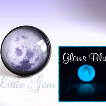 Glow in the Dark Full Moon Galaxy Ring - Gunmetal Grey or Silver Setting - Moon Glow Ring - Moon Jewelry -Gothic Victorian Halloween Ring