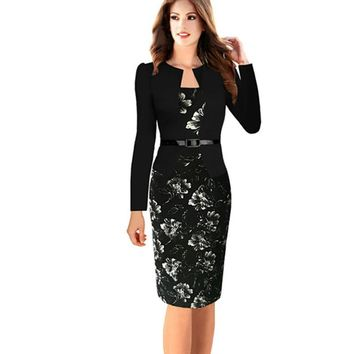 Oxiuly One-piece Faux Jacket Brief Elegant Patterns Work dress Office Bodycon Female 3/4 Or Full Sleeve Pencil Bodycon Dresses